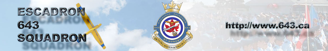 Site officiel de l'escadron 643 St-Hubert des Cadets de l'aviation royale du Canada